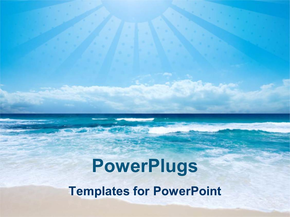 powerpoint template beach and sea with light blue sky and