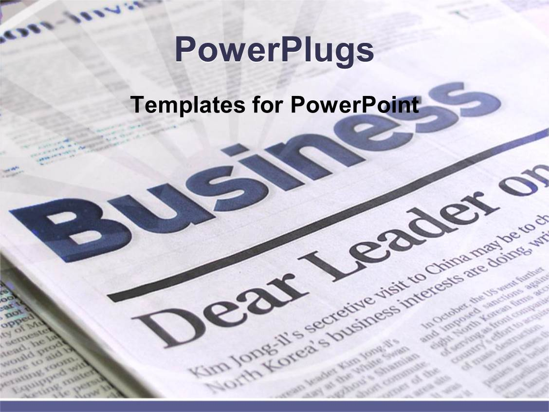 PowerPoint Template Displaying a Beautiful Depiction of a Business Page of a Newspaper