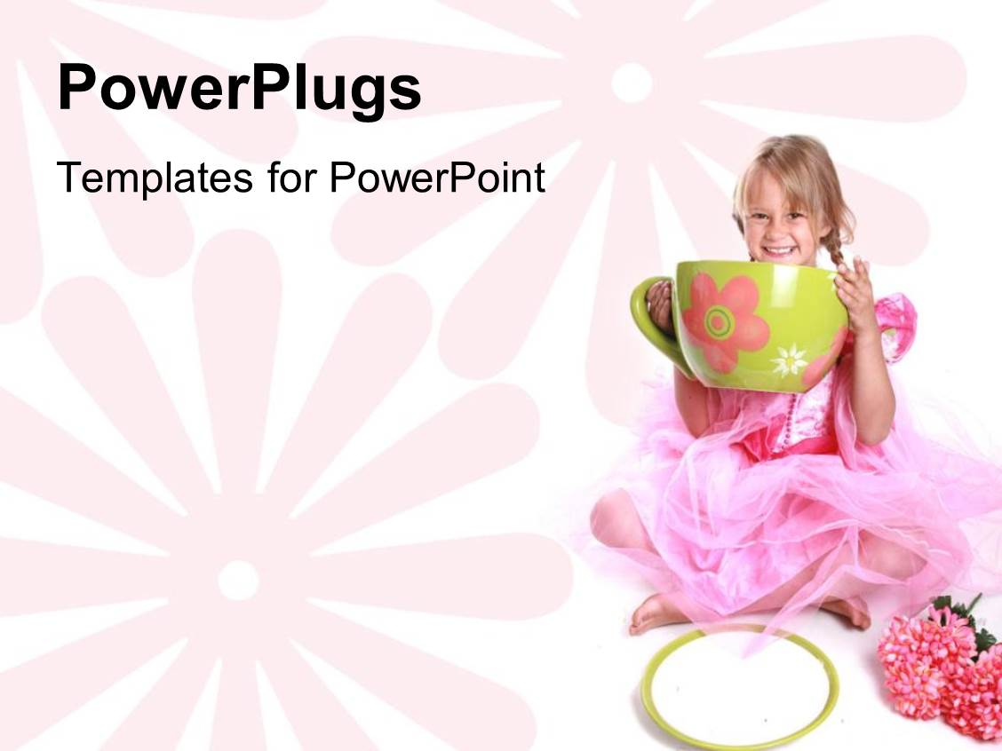 PowerPoint Template Displaying a Beautiful Depiction of a Girl with a huge Cup