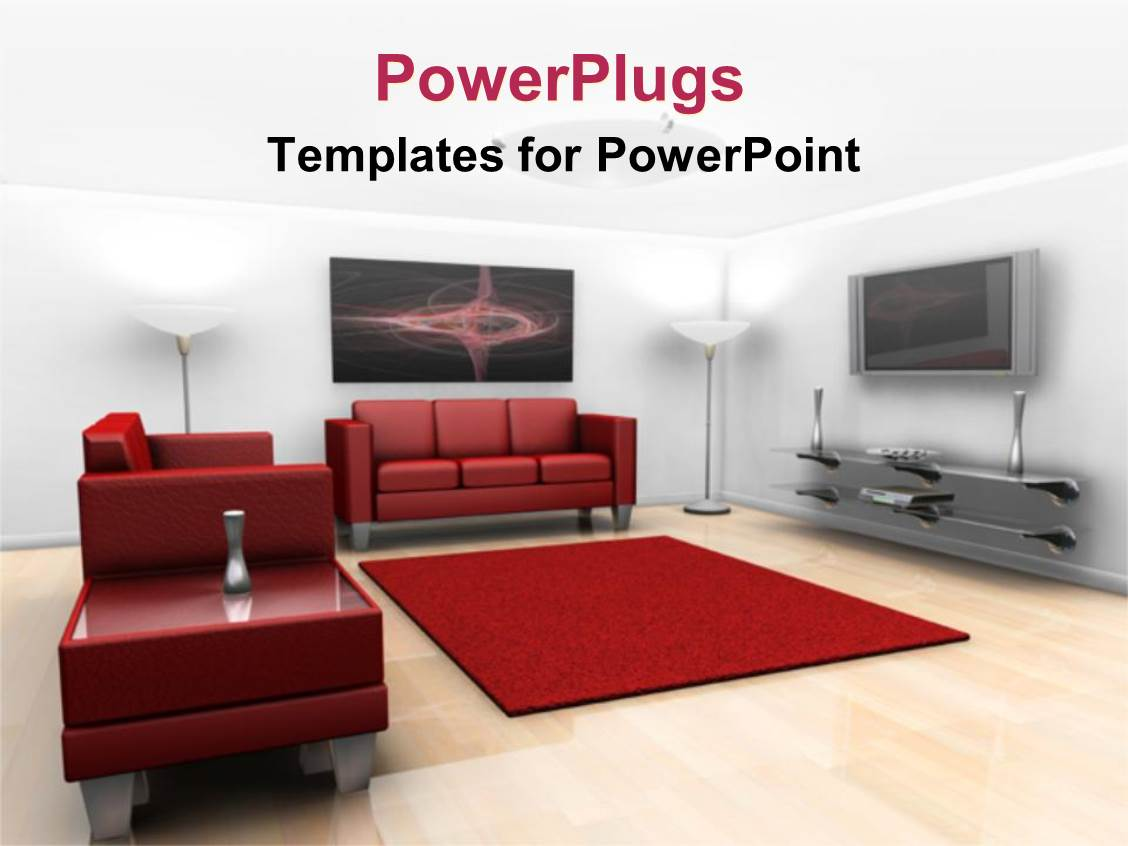 Powerpoint template a beautiful depiction of a room with for Apartment design ppt