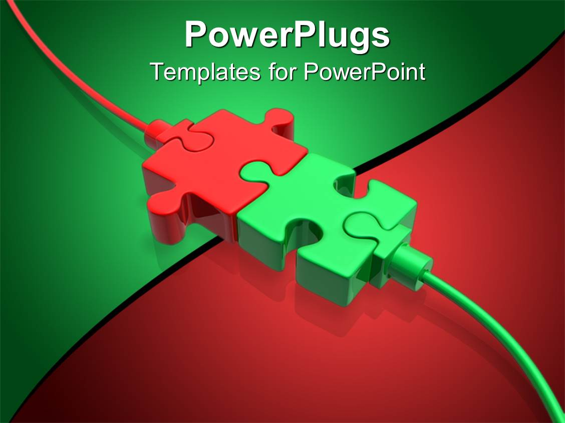 Powerpoint template a beautiful depiction of two puzzle for Power plugs powerpoint templates