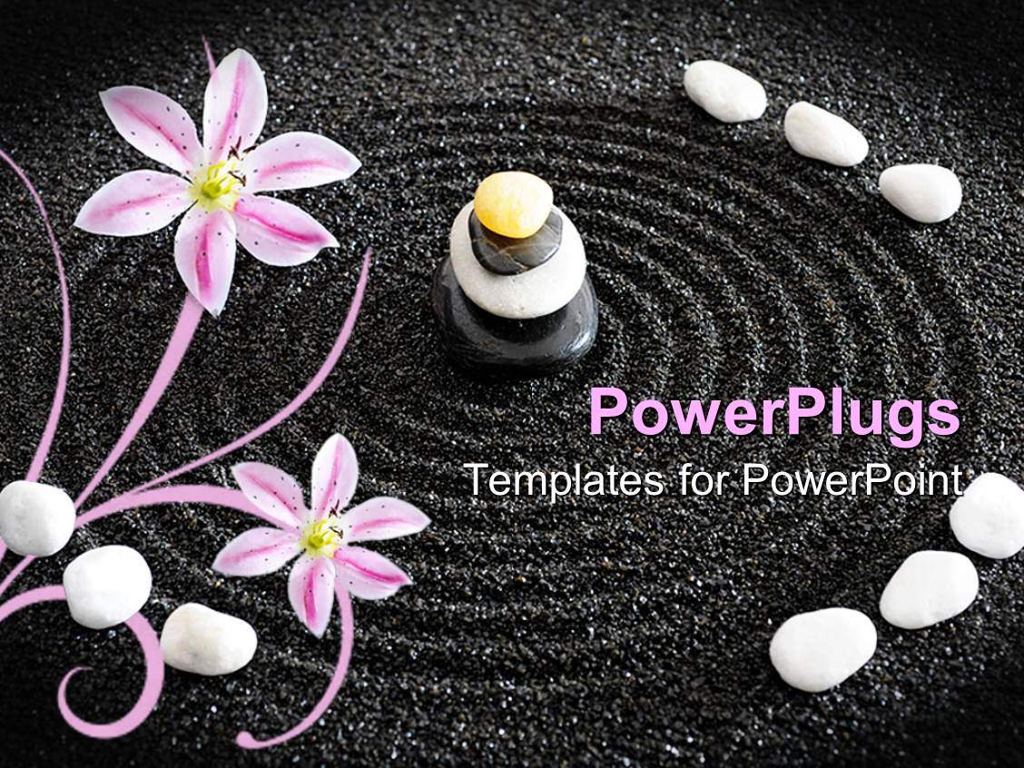 Zen powerpoint templates crystalgraphics ppt enhanced with a beautiful depiction of zen garden along with circles in the black sand template size toneelgroepblik Choice Image