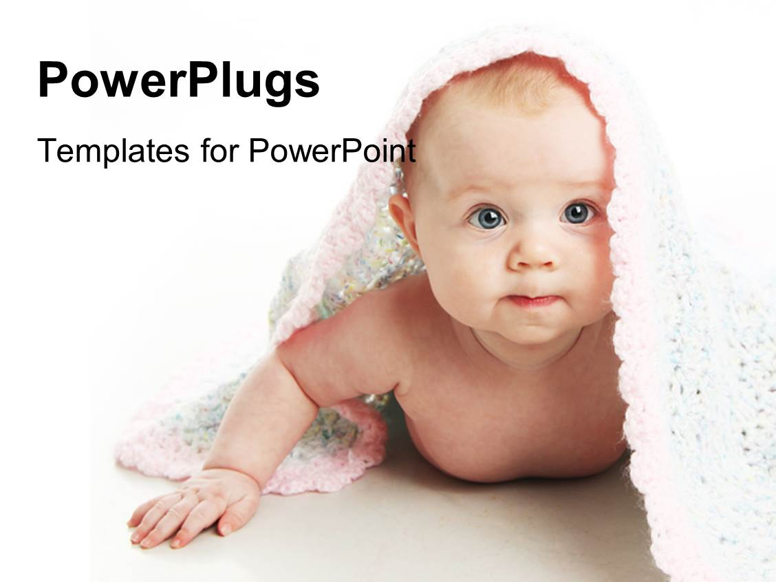 PowerPoint Template Displaying a Beautiful Kid with a Rug