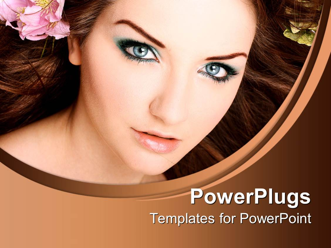 Cosmetics powerpoint templates crystalgraphics beautiful ppt enhanced with beautiful young woman with blue eye makeup pink flower in hair template size toneelgroepblik Choice Image