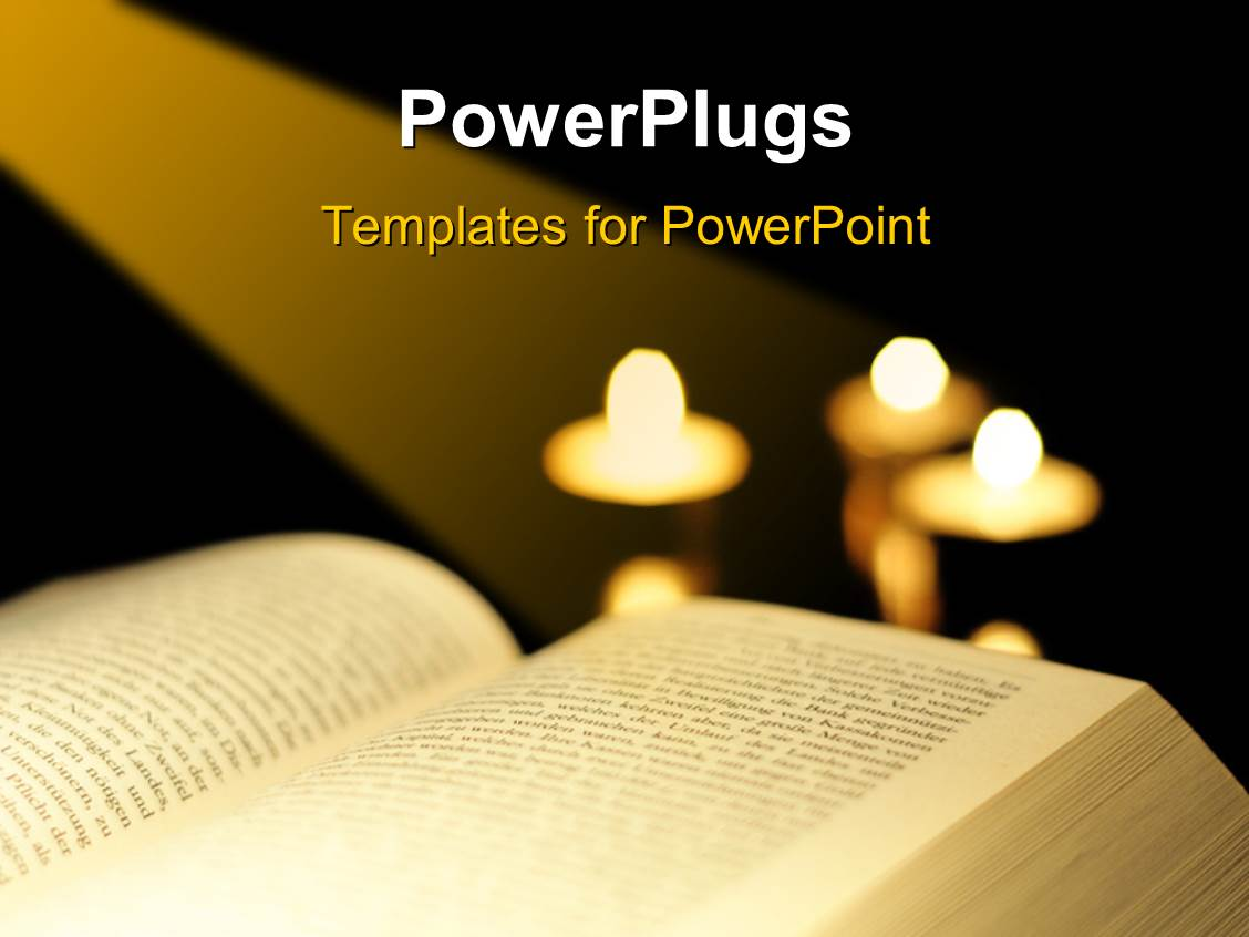 Powerpoint template two hands with a holy book in the background a template featuring the bible with a number of candles toneelgroepblik Choice Image