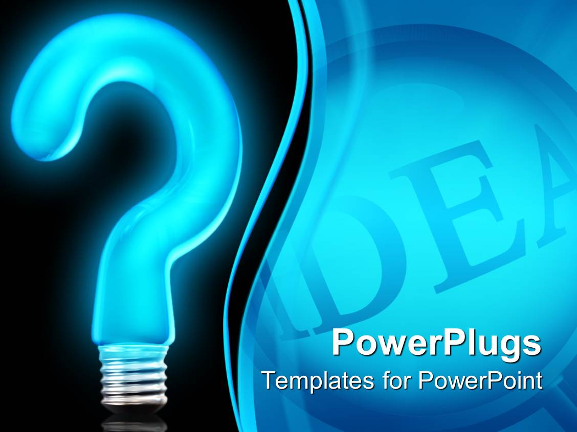 powerpoint template big neon blue colored question mark