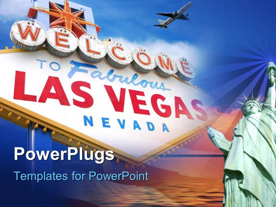 Las vegas powerpoint templates crystalgraphics amazing slide deck consisting of bill board welcoming to las vegas nevada with airplane in template size pronofoot35fo Choice Image