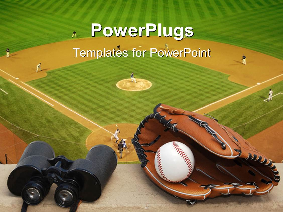 powerpoint template binoculars baseball and glove on ledge overlooking baseball field with. Black Bedroom Furniture Sets. Home Design Ideas