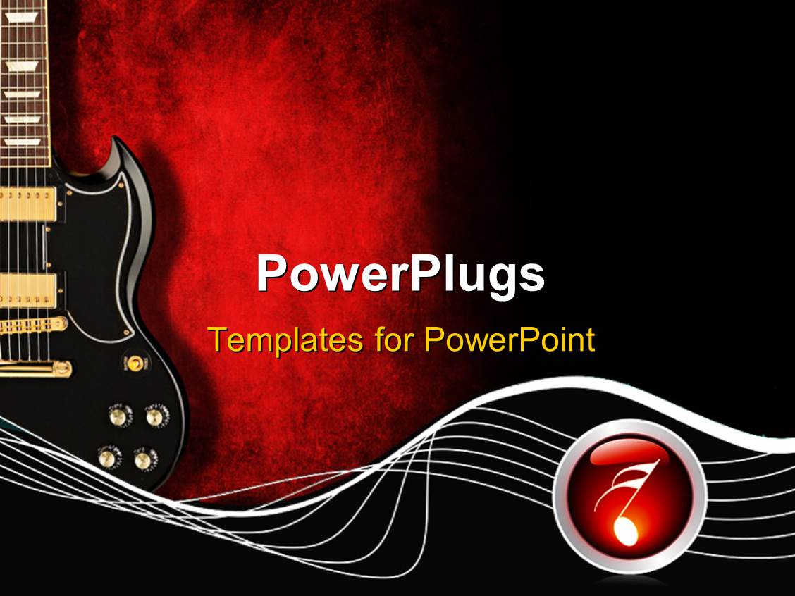 Powerpoint template black guitar with music waves and symbol on powerpoint template displaying black guitar with music waves and symbol on red and black background toneelgroepblik Images