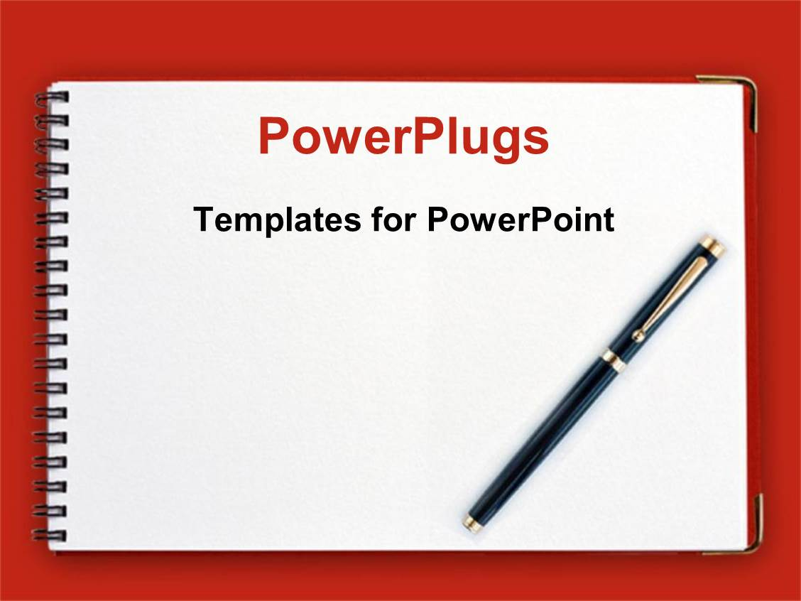 powerpoint template: black pen on spiral notebook with red, Modern powerpoint