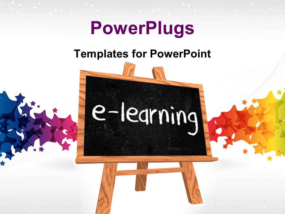 powerpoint template: a blackboard saying e- learning with colorful, Powerpoint templates
