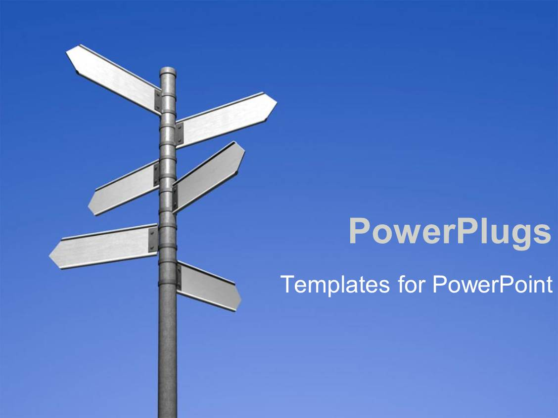 powerpoint template blank signpost pointing in different