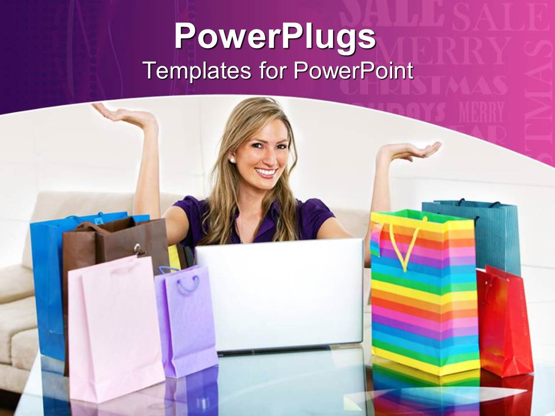 Shopping powerpoint templates crystalgraphics powerplugs powerpoint template with blond woman smiling with open laptop and shopping bags on table toneelgroepblik Gallery