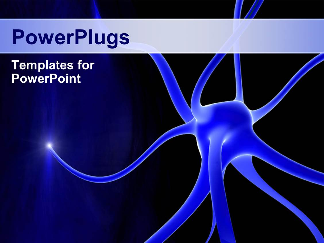 Powerpoint template blue background with depiction of for Power plugs powerpoint templates