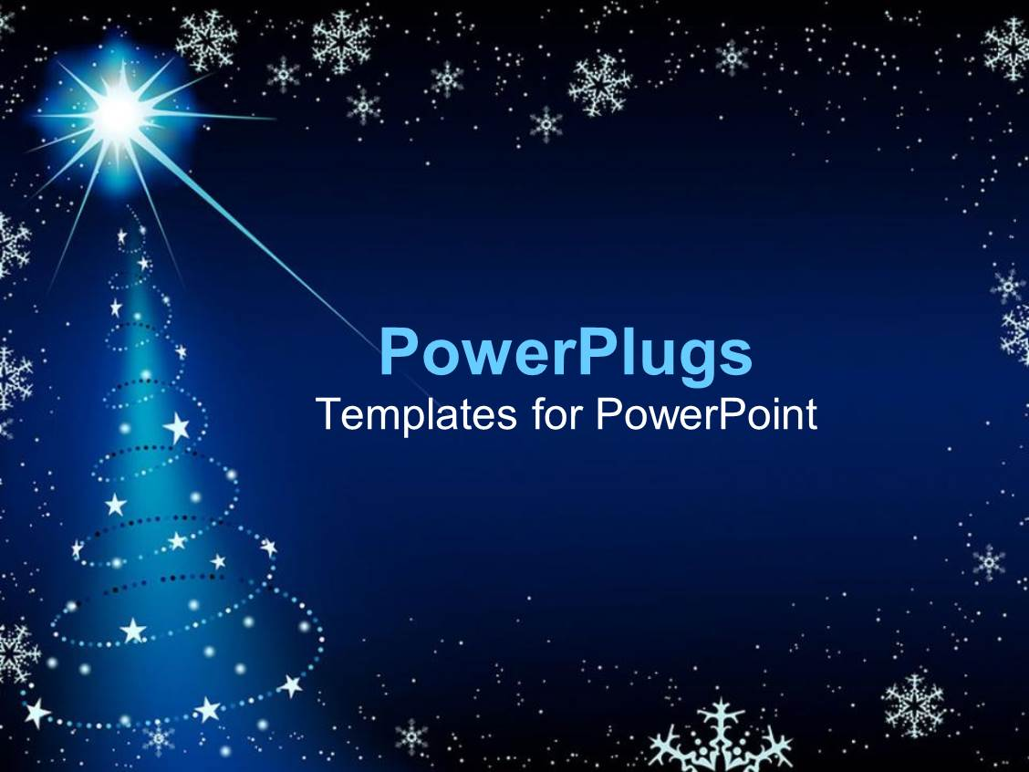 powerpoint template blue background with snowflakes and