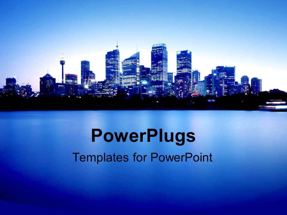 powerpoint template: blue city lights at night with ocean bay and, Modern powerpoint