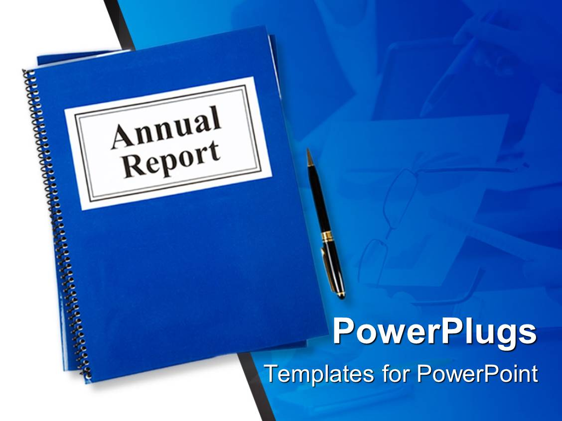 Report powerpoint templates crystalgraphics powerplugs powerpoint template with blue notebook tagged annual report with pen on blue table toneelgroepblik Choice Image