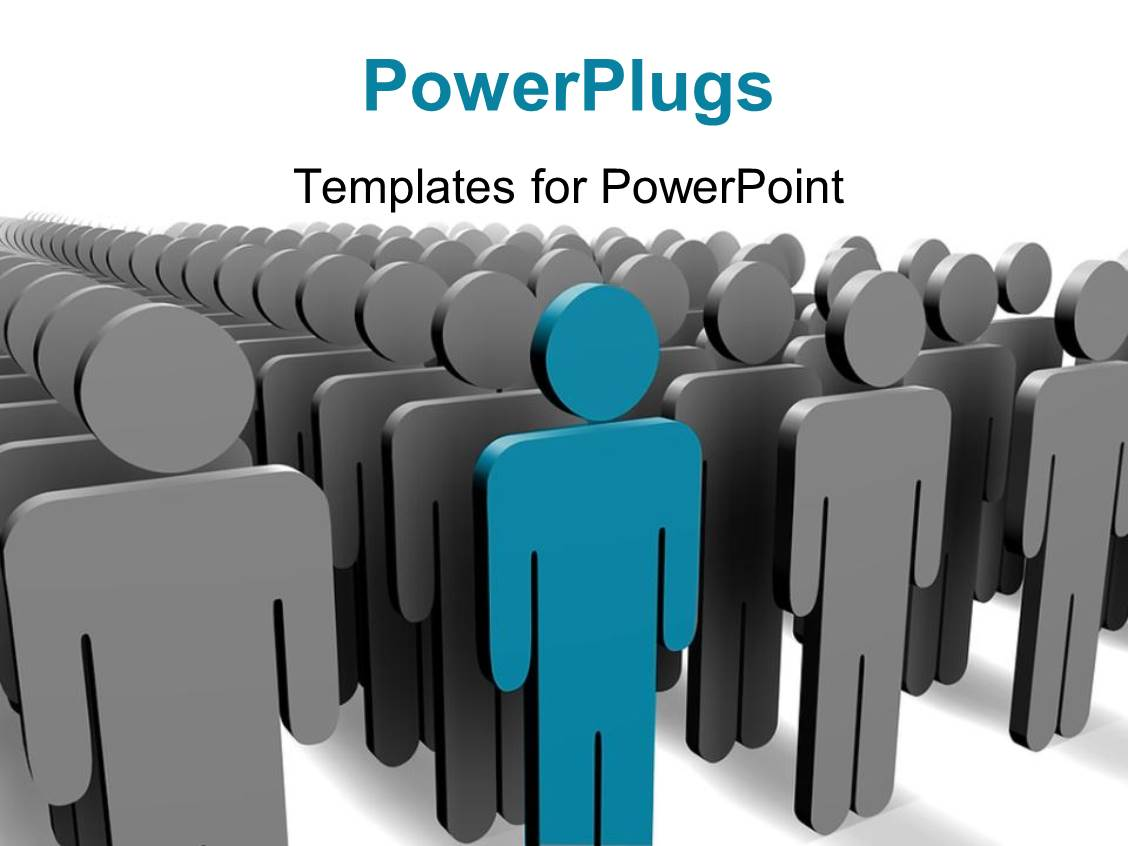 PowerPoint Template Displaying Blue Person Stands Out among Grey People with White Color