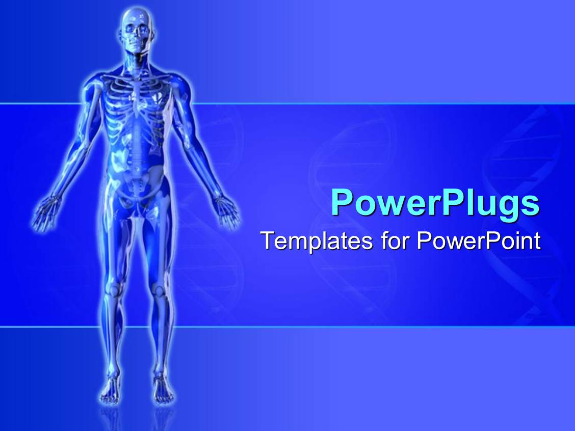anatomy ppt templates free download - powerpoint template blue skeleton with arms outstretched
