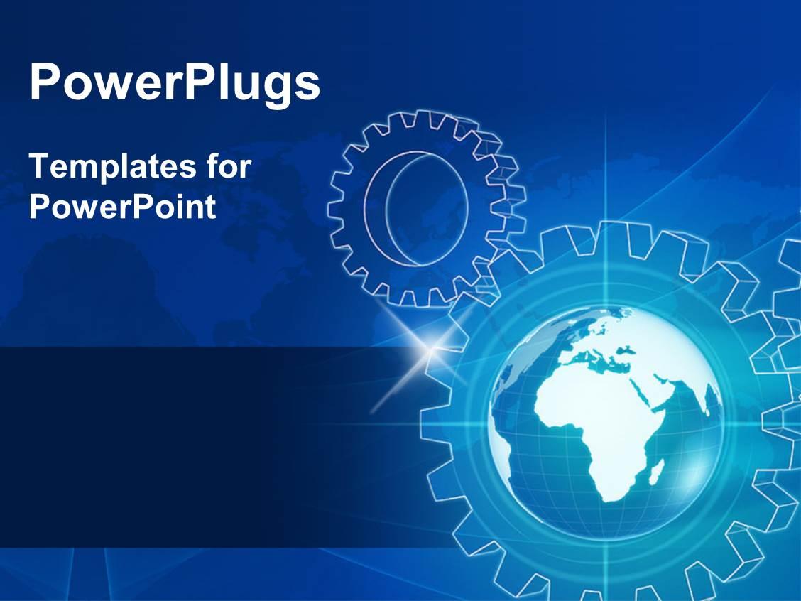 powerpoint template: 3d gear wheels on steel background (17177), Modern powerpoint
