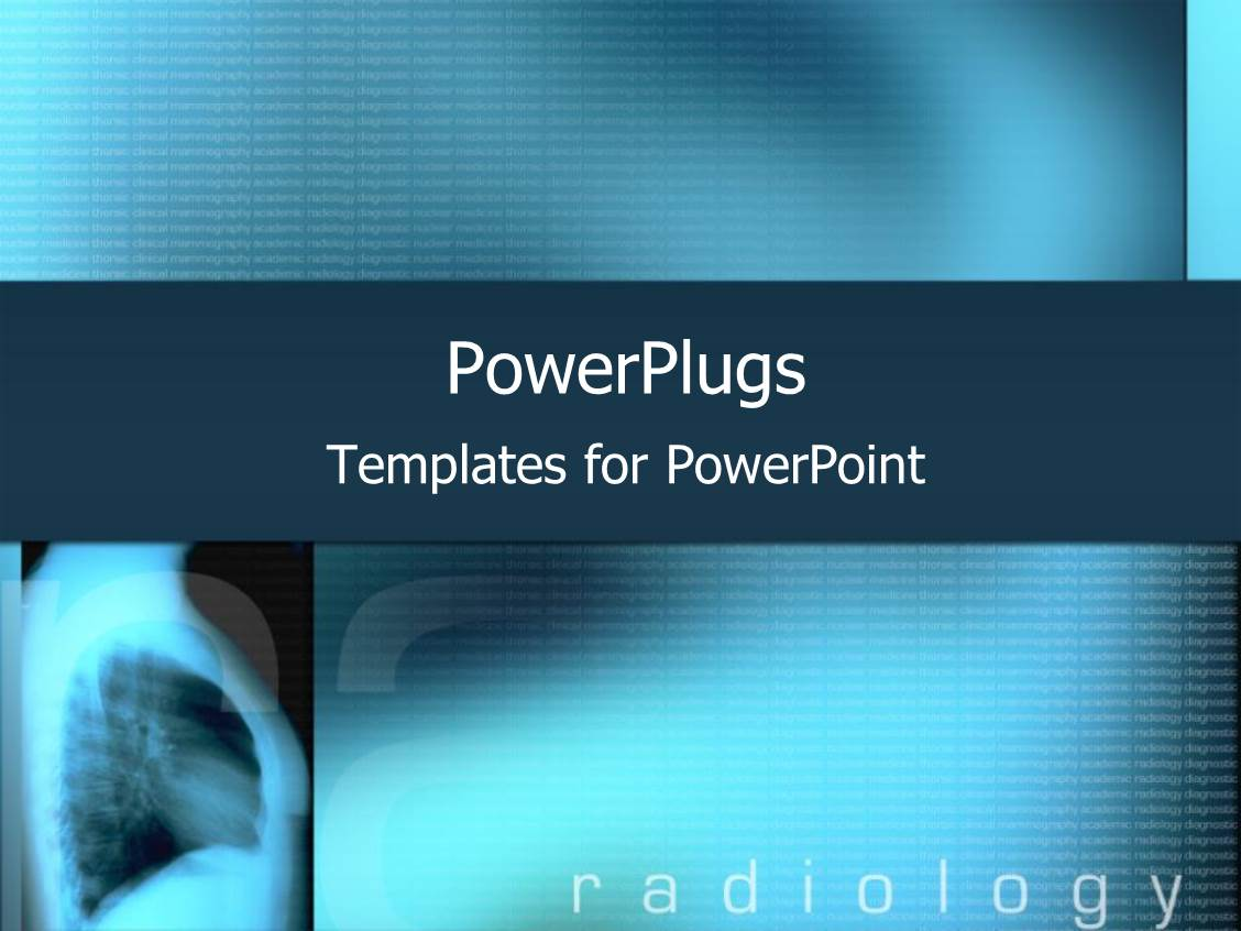 powerpoint template blue xray with radiology text on a
