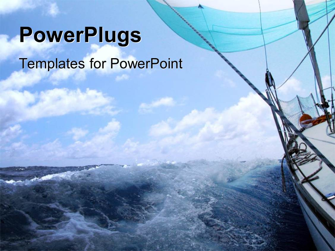 Powerpoint template old yacht sailing in blue ocean with blue powerplugs powerpoint template with boat sailing in atlantic sea with high tides toneelgroepblik Images