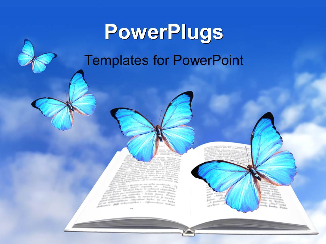 powerpoint template a book and a number of butterflies