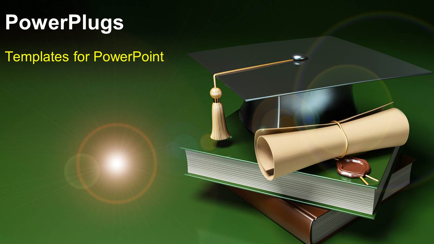 powerpoint template: books, graduation degree and graduation hat, Modern powerpoint