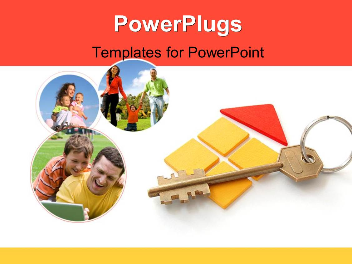 PowerPoint Template Displaying Bronze Key Over House Outline with Collage of Happy Family
