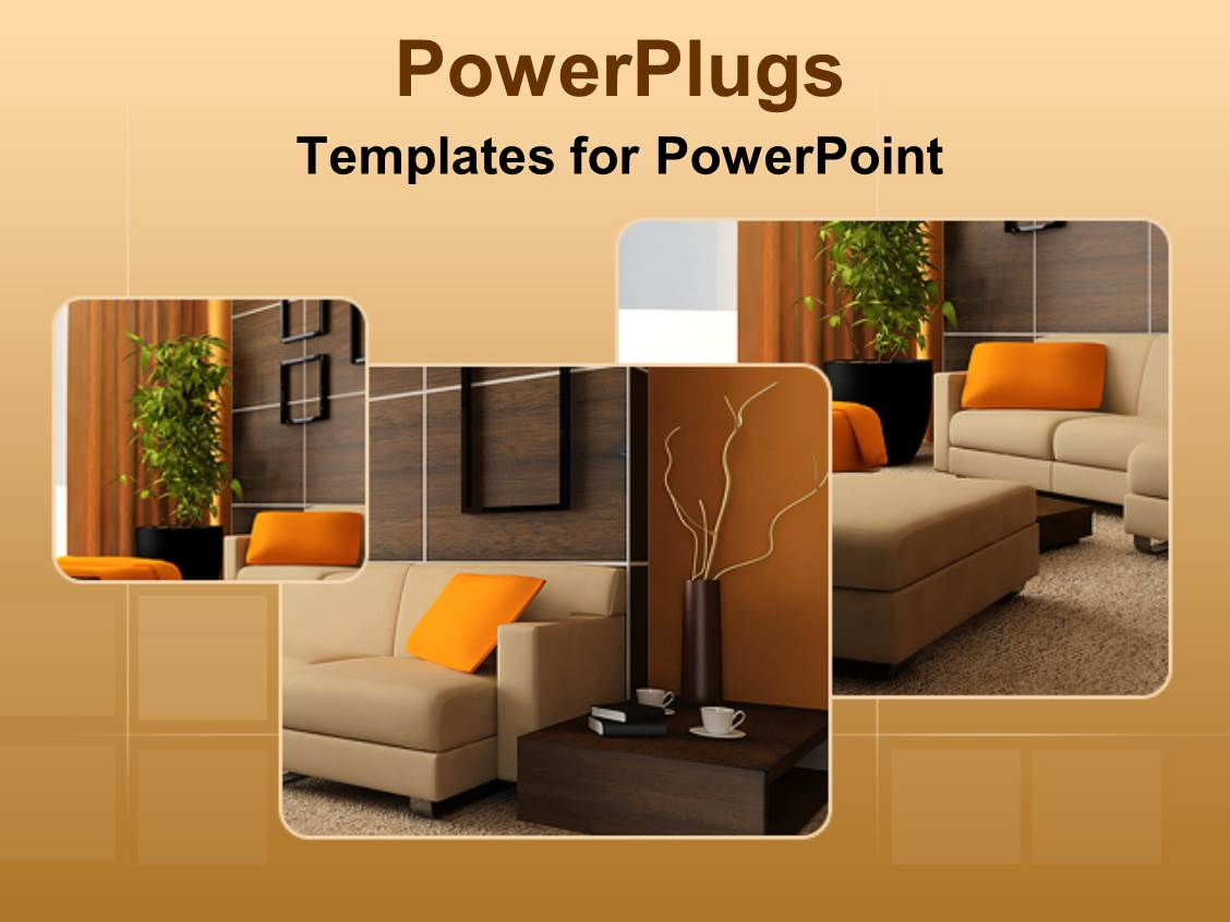 Powerpoint template brown wood interior design of a for Furniture templates for room design