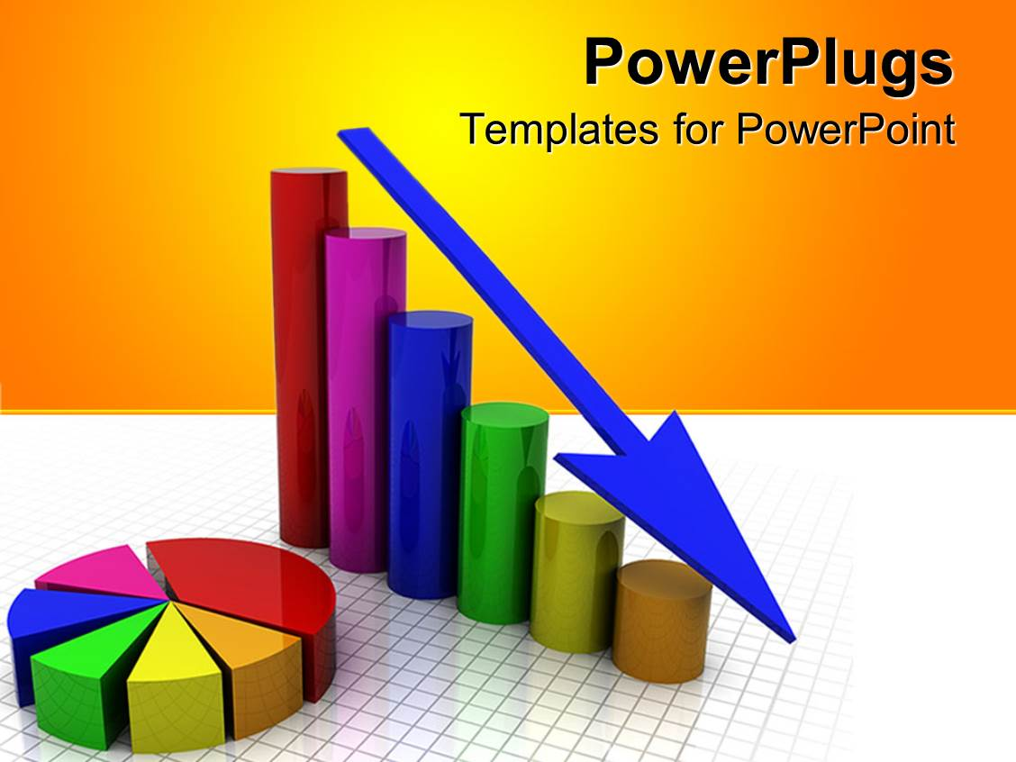 powerpoint template: a business graph showing gradually decrease, Modern powerpoint