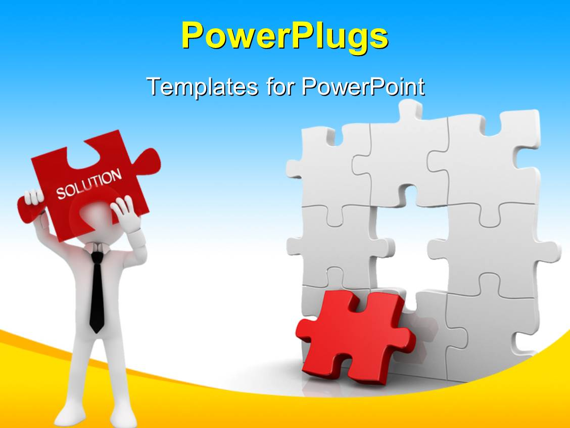 Jigsaw company lookup - Powerplugs Powerpoint Template With Business Man Trying To Find Missing Piece Of Puzzle To Join