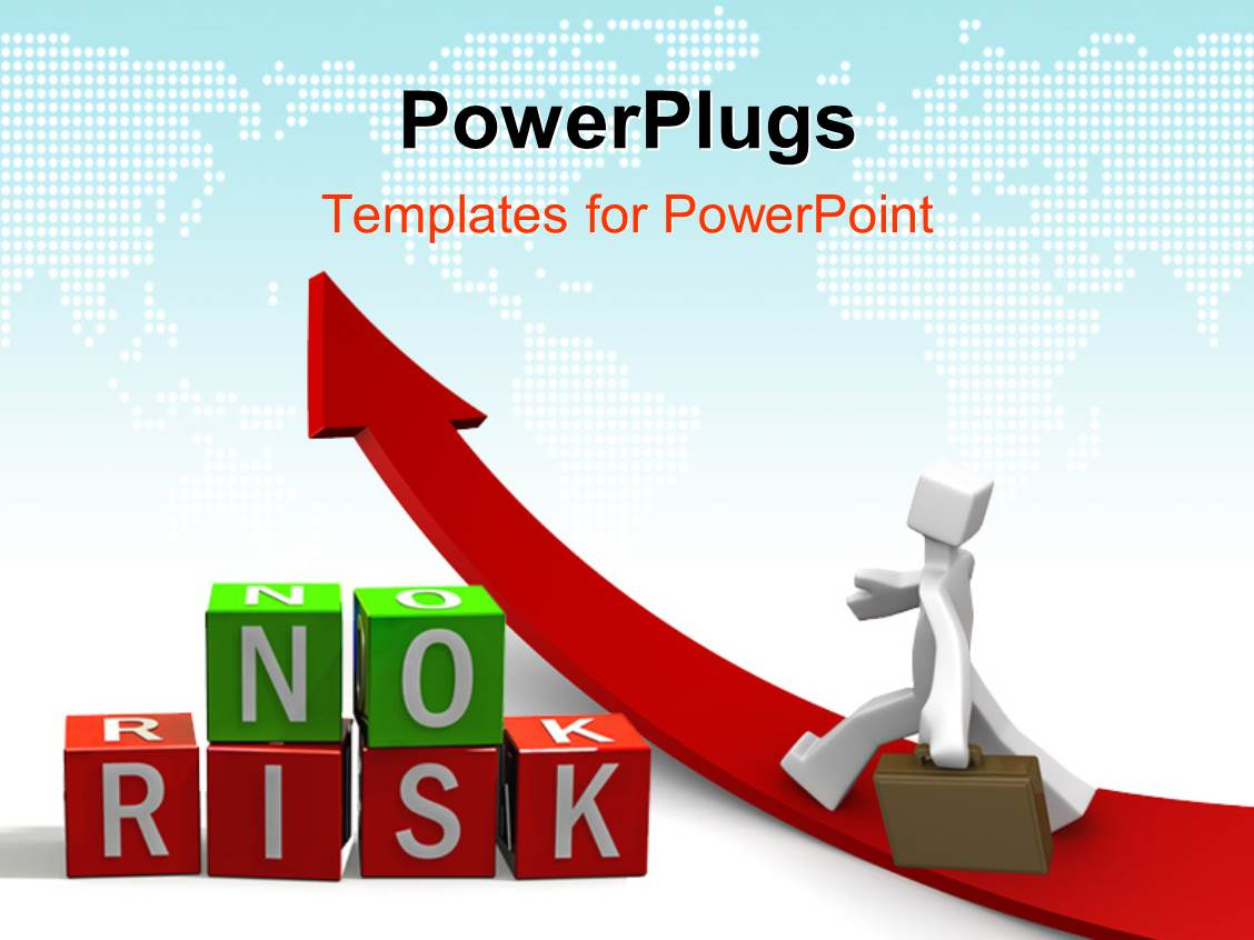 Free powerpoint templates 2529 html free ppt powerpoint templates - Powerplugs Powerpoint Template With Business Man Walking On Red Arrow Takes Path Of No Risk