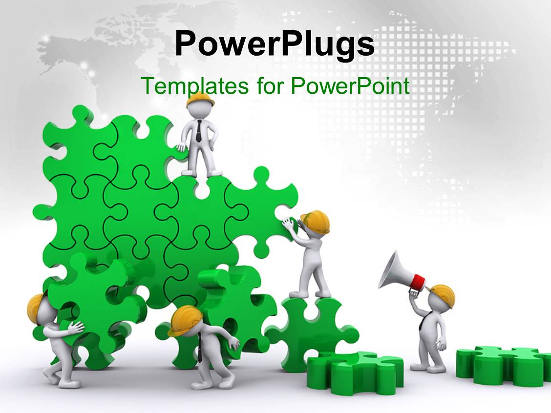 Powerpoint template business team work building puzzles for Team building powerpoint presentation templates