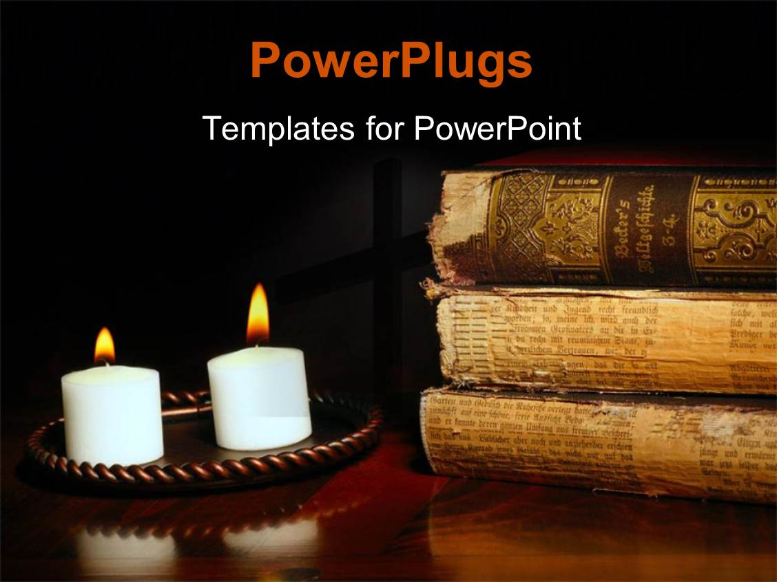 powerpoint template candles illuminating antique world history volumes in old german 24985. Black Bedroom Furniture Sets. Home Design Ideas