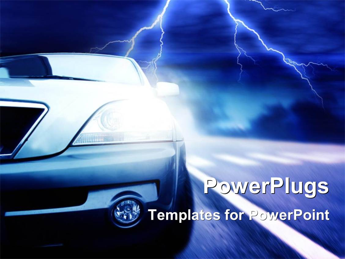 flash powerpoint presentation templates - powerpoint template a car with a lightning flash in the