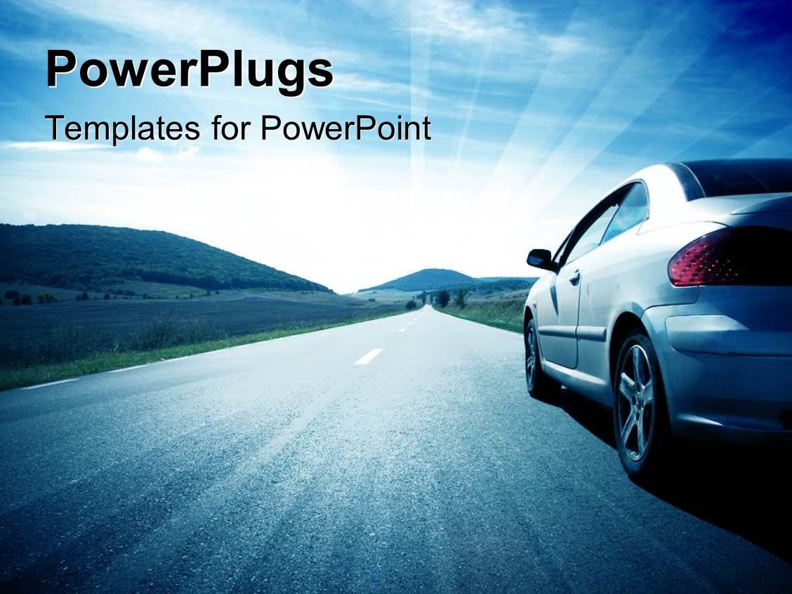 powerpoint template a car on the road with clouds in the
