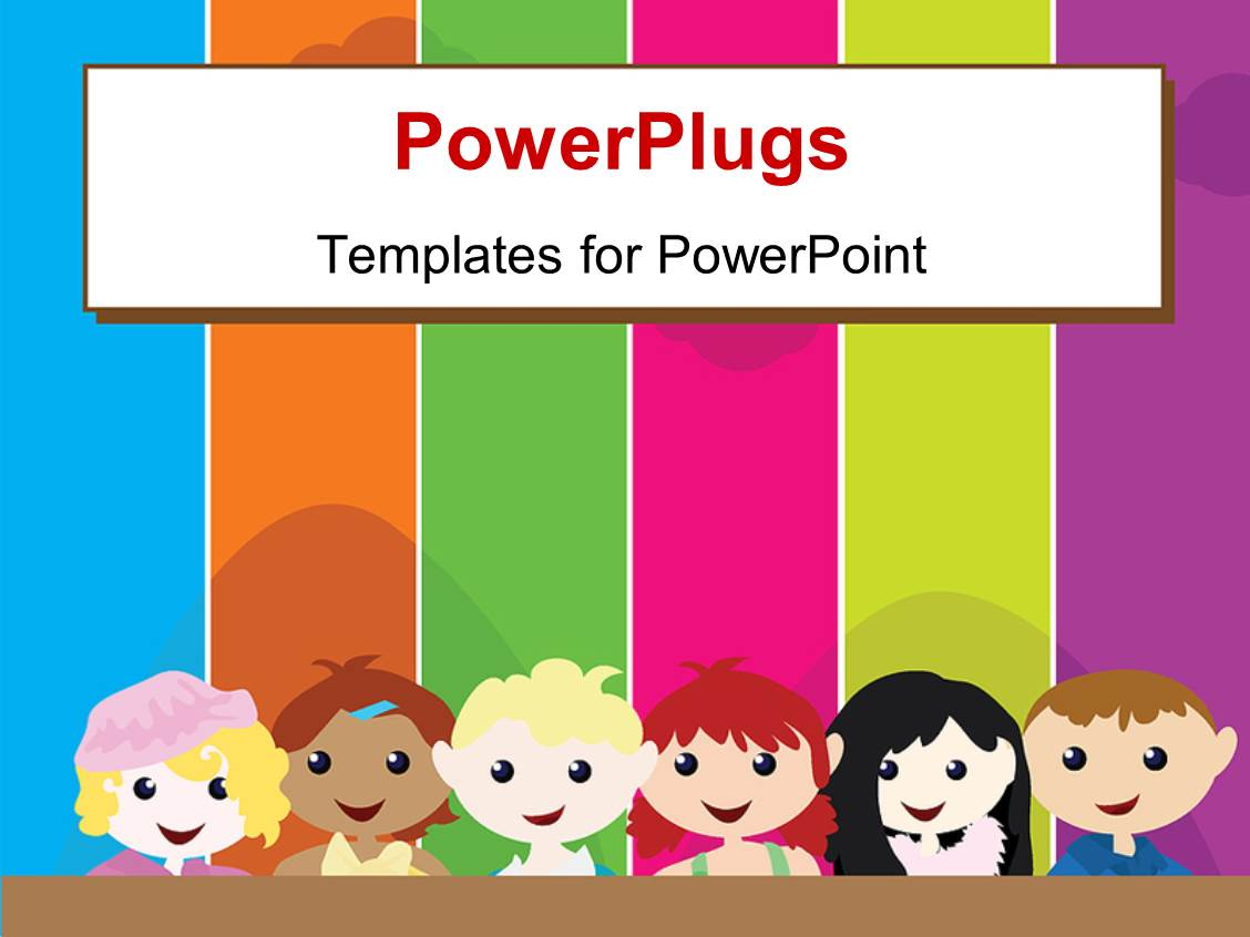 powerpoint template a cartoon theme of six kids standing