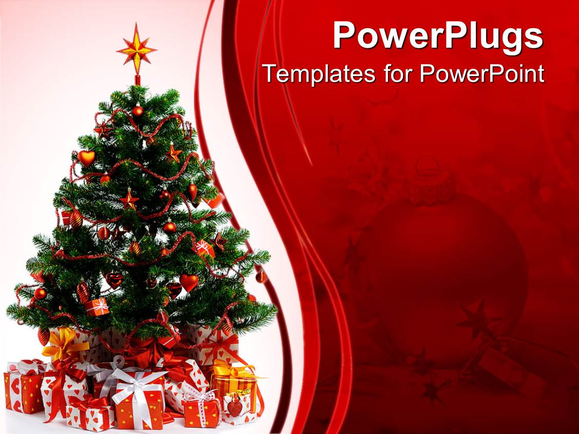 PowerPoint Template: Christmas Celebrations With Tree And