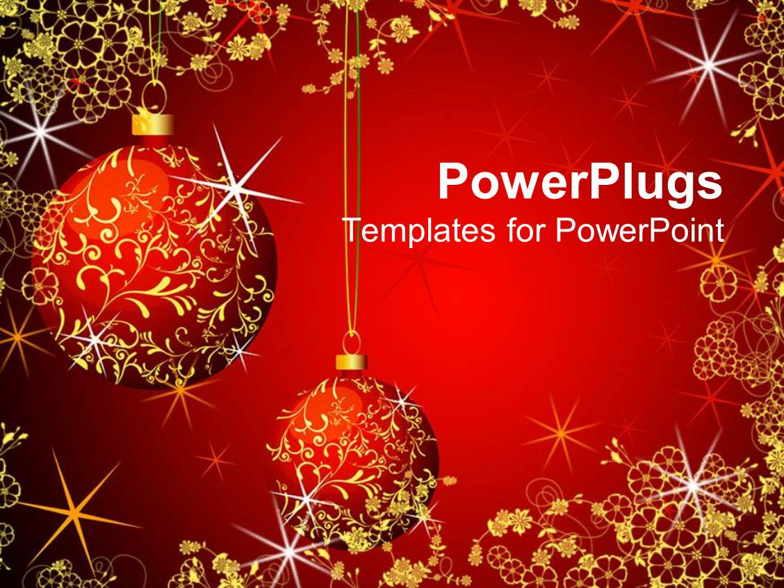 Powerpoint template christmas theme with red and gold for Free christmas powerpoint templates