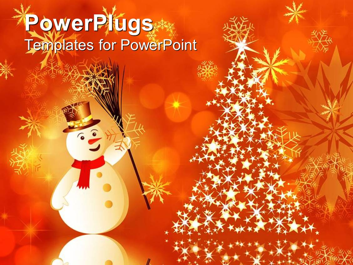 powerpoint template christmas theme with smiling snowman and