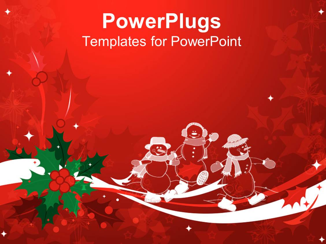 Powerpoint template christmas theme with white transparent snowmen and mistletoe on white and for Christmas ppt theme
