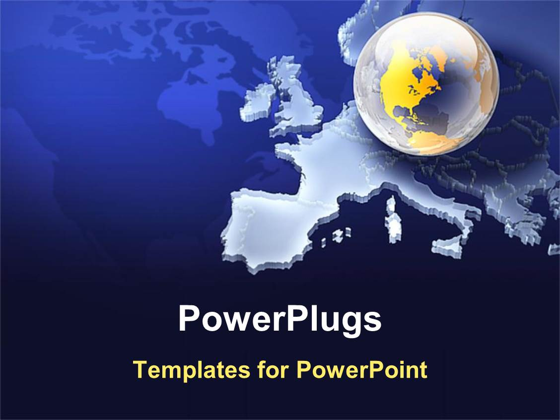 powerpoint template  clear earth globe on european map in
