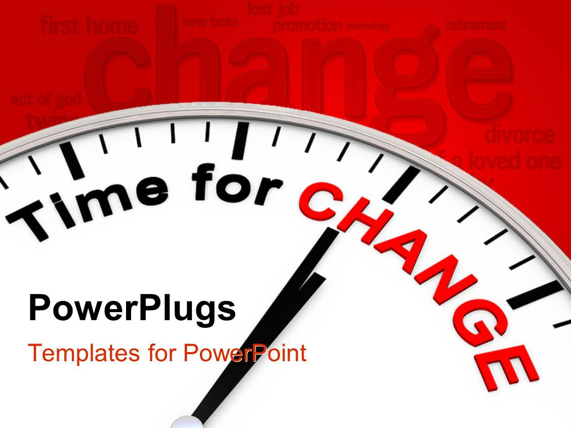 powerpoint template: clock face with words time for change on red, Modern powerpoint