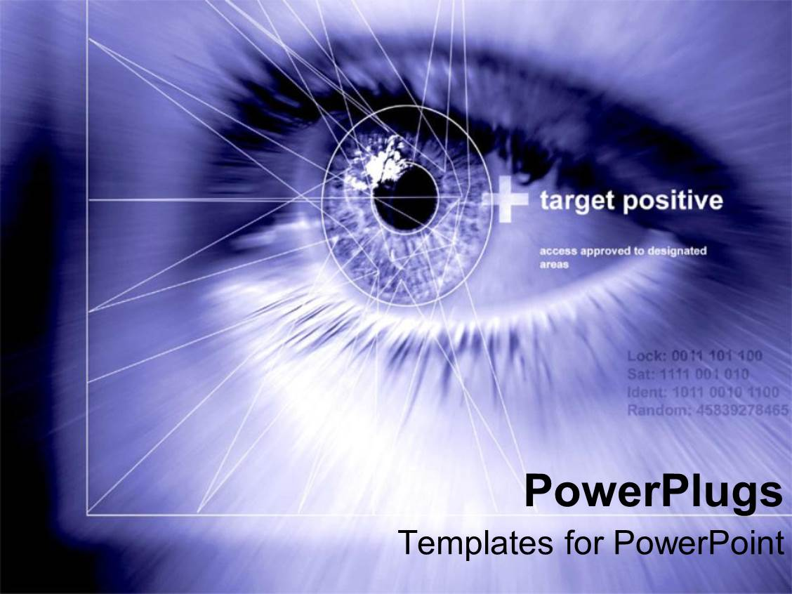 Eye powerpoint templates crystalgraphics design featuring close up of pupil of human eye with geometric shapes on a blue background toneelgroepblik Choice Image