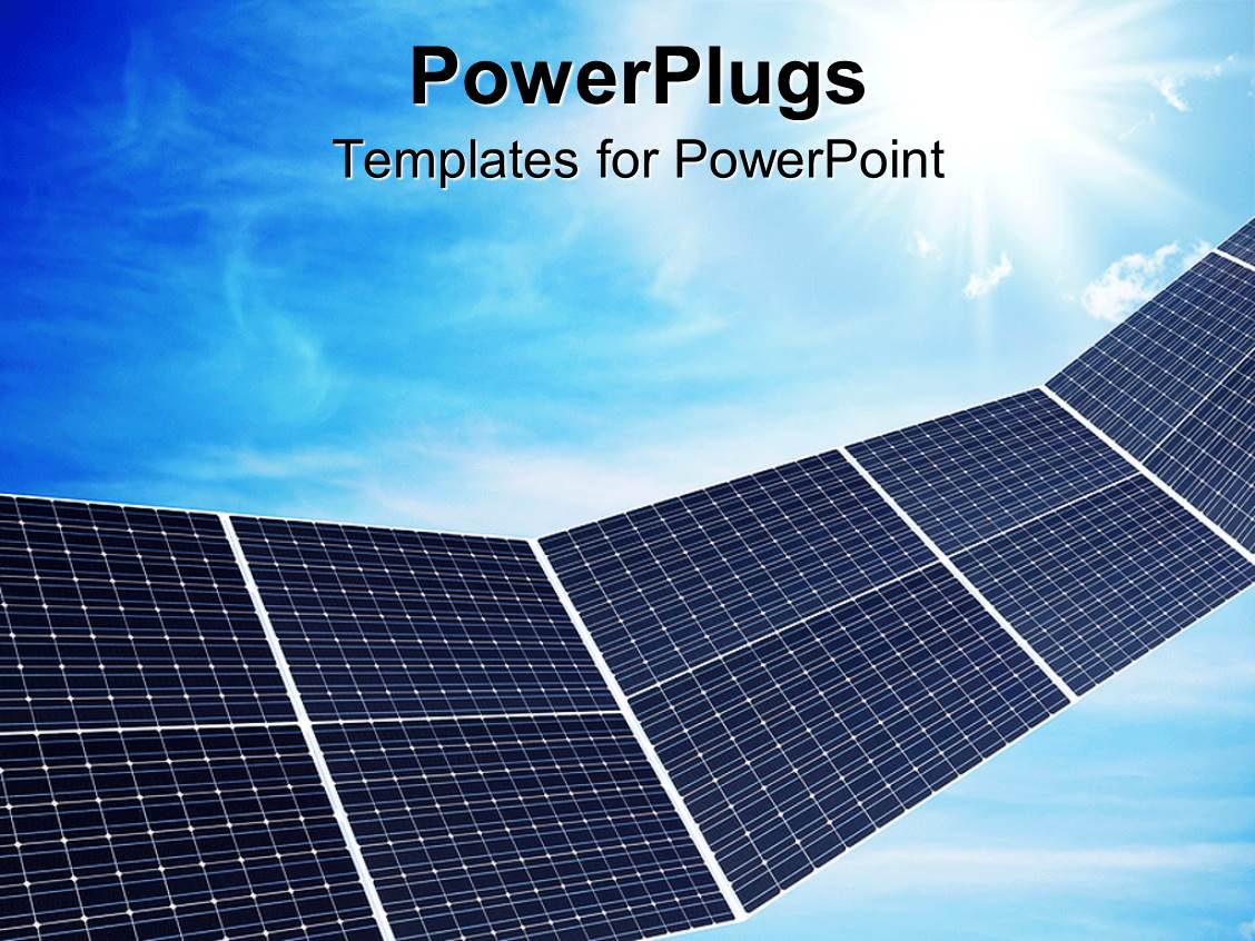 powerpoint template: a close up view of some solar panels over a, Presentation templates