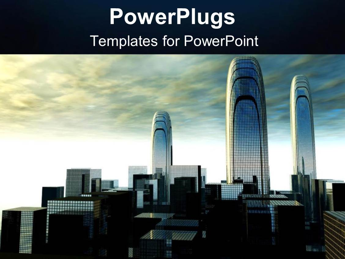 powerpoint template: cloudy sky with depiction of futuristic city, Presentation templates