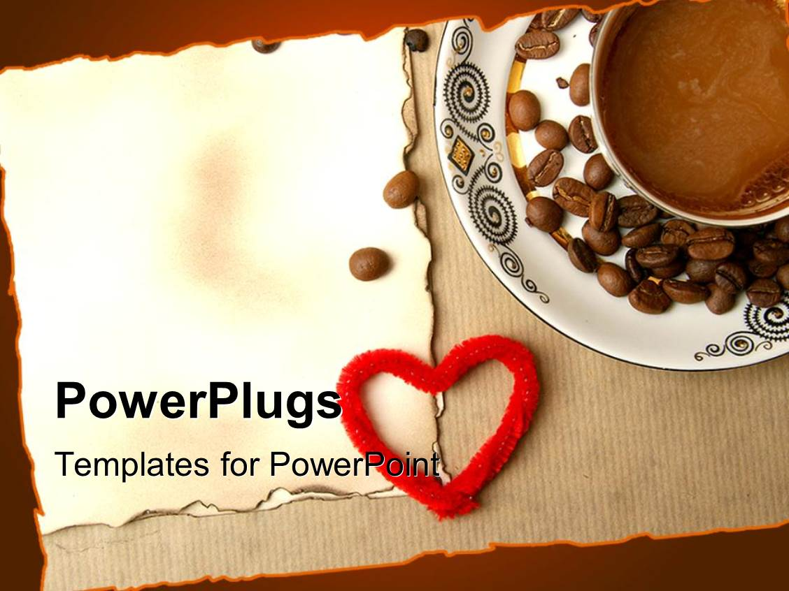 powerpoint template: coffee and coffee beans in white saucer over, Presentation templates
