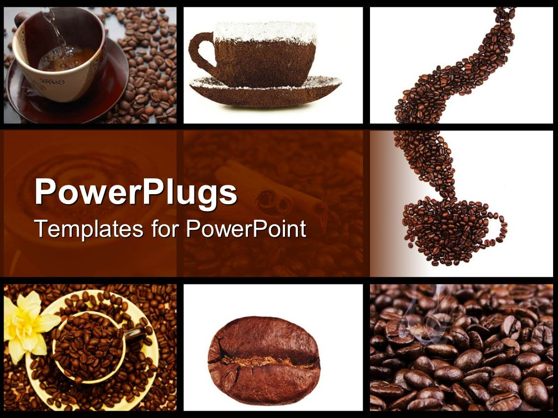 powerpoint template: coffee collage in brown and white with cups, Presentation templates