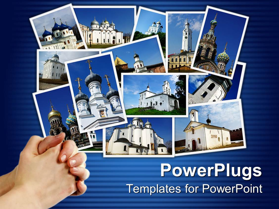 powerpoint template collage of ancient orthodox churches
